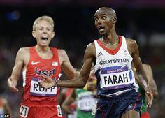 Stunned: Mo Farah crosses the line to win the 10,000m title at the London Olympics....loved his celebration!  and his training partner rallies for silver!