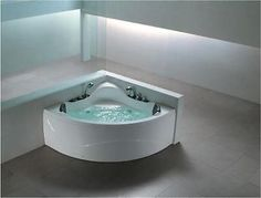 DOUBLE 2 PERSON WHIRLPOOL CORNER BATH Spa Jacuzzi LIGHT 1230mm X 1230mm In  Home, Furniture