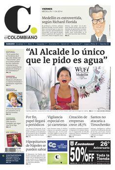 Portada de El Colombiano para el viernes 11 de abril de 2014.