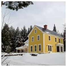 VVD :^: Exteriors - like the white framing, cladding trim.  could imagine this house instead of yellow with natural cedar exterior