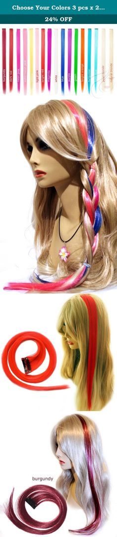 """Choose Your Colors 3 pcs x 22"""" Clip-in Straight Hair Extensions Wholesale Plus Bonus Ponytail Holder- Email Us. Amazing and vibrant! Highlight your hair for a fun style! Add a splash of color to brighten up the day and make a statement! Create your own color combination. Choose your 3 colors out of 17 available - just drop us a quick note::: Colors in stock: - Purple - Red - Dark Red - Burgundy - Orange - Yellow - Green - Magenta - Light Pink - Light Blue - Natural Blonde - Pearl Blonde -..."""