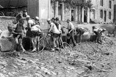 Water break in the old days of the Tour de France.