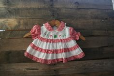 Vintage Red & White Gingham Floral Dress by Tiny Tots by vintapod