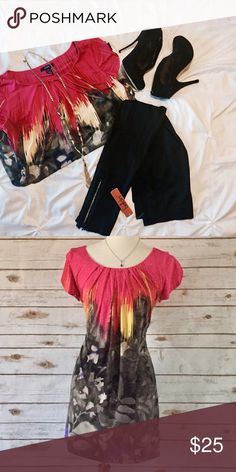 Alfani Top & leggings Very cute Like new Alfani Top/Dress & NWT Belldini black leggings with rhinestone zippers.  This outfit will fit size medium or large. Alfani Dresses