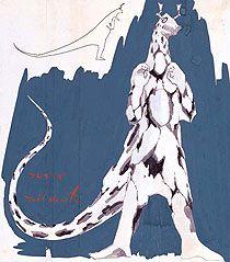 カレンダー《エレキング》 成田亨 1967年 36.8×32.6cm ペン・水彩、紙