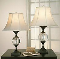 Restoration Hardware Crystal Ball Urn Table Lamps in Bronze