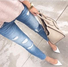Ripped jeans + Pink sweaters + white pointy toed pumps + Nude Celine bag