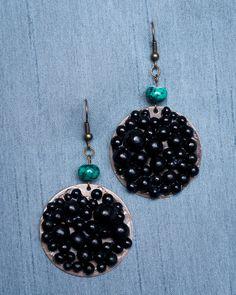 Handmade Polymer Clay Black Beaded Earrings by JenniferAnnFineArt, $25.00
