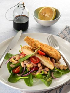 Quorn Garlic & Herb Chik'n with White Bean Salad  Click for ingredients and recipe!