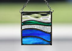 SEA DREAMS  -  Stained Glass Christmas Ornament or Suncatcher with Ocean Colors -  Gift Boxed, Hostess Gift, Gift Exchange. $20.00, via Etsy.