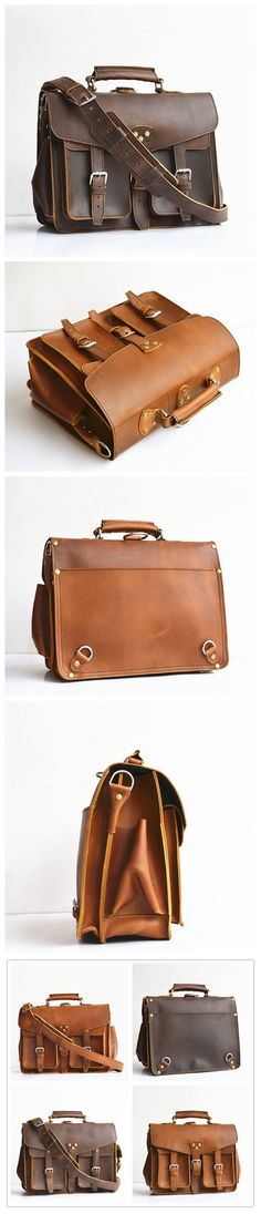 Wing Handmade Mens Leather Briefcase Men Leather Backpack Mens Leather Bag Men…