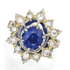 Lot 480 - 18 KARAT TWO-COLOR GOLD, SAPPHIRE AND DIAMOND RING, BUCCELLATI