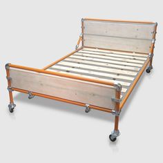 Metal Bed Frame with Storage Space below. Modern Industrial / Loft Style Furniture Idea for Adult or Kids Bedroom. Made to Measure in UK.