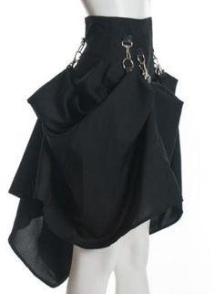 Black High Waist Steam Punk Victorian Skirt,  Skirt, black steampunk victorian gothic, Gothic