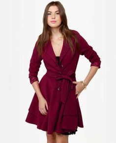 Darling Helena Burgundy Frock Coat