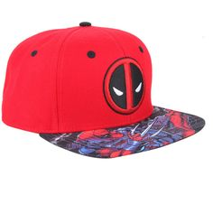 Marvel Deadpool Logo Snapback Hat ($16) ❤ liked on Polyvore featuring accessories, hats, red, embroidered snapback hats, red snapback, snapback hats, logo hats and embroidered hats