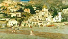 Positano by Vincenzo Caprile (Naples, 1856 – Naples, 1936)