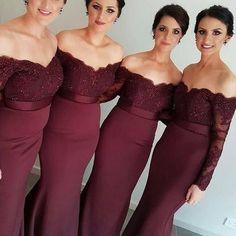 Am110 off shoulder long sleeve bridesmaid dresses, mermaid lace bridesmaid dresses, long bridesmaid dresses, cheap bridesmaid dresses