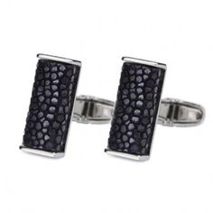 Luxe Oblong Stingray Stainless Cufflinks