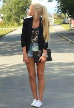 graphic t, blazer, high waisted shorts
