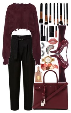 """bordeaux"" by jooseefiinee ❤ liked on Polyvore featuring Velour Lashes, Unravel, Yves Saint Laurent, Balenciaga, M.O.T.D Cosmetics, Michael Kors, Lime Crime, NARS Cosmetics, Gucci and MAC Cosmetics"