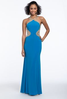 This regal color is all the rage for prom: additionally, the halter neckline, beaded illusion sides bodice, sheath silhouette and cutouts on this long evening dress give an elegant finish to this gorgeous gown. Pair it with rhinestone heels and a metallic rhinestone clutch. #CamilleLaVie