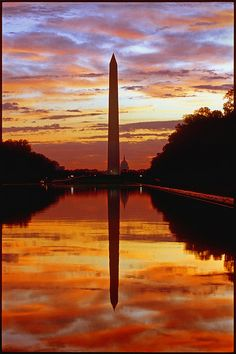 Sunrise, Washington National Monument and the National Mall (shot from the the Lincoln Memorial), Washington, D.C.