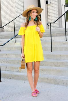 Little yellow off the shoulder dress