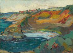 """""""Chemainus Bay, Vancouver Island,"""" Emily Carr, 1924 - 1925, oil on paperboard, 17.72 x 13.27"""",  Glenbow Museum."""