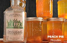 Peach Pie Moonshine, the perfect mason jar gift for the most important people in your life who need who need a stiff drink. Peach Vodka, Peach Juice, Vanilla Vodka, Peach Schnapps, Easy Drink Recipes, Vodka Recipes, Alcohol Drink Recipes, Shot Recipes, Cake Recipes