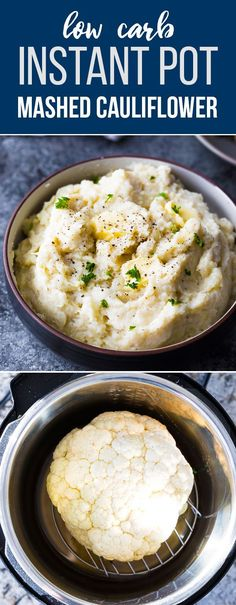Creamy parmesan Instant Pot mashed cauliflower is a healthier, low carb alternative to mashed potatoes. Prep it ahead in the Instant Pot for an easy holiday side dish! #sweetpeasandsaffron #lowcarb #instantpot #glutenfree #sidedish