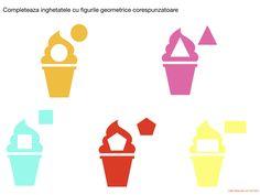 Completeaza inghetatele cu figurile geometrice corespunzatoare Math Activities, Symbols, Letters, Logos, Art, Geometry, Art Background, Icons, Letter