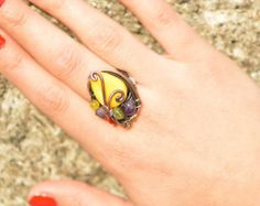 Amethyst & Mix Stone ring wire wrapped by SheydoshAccessories