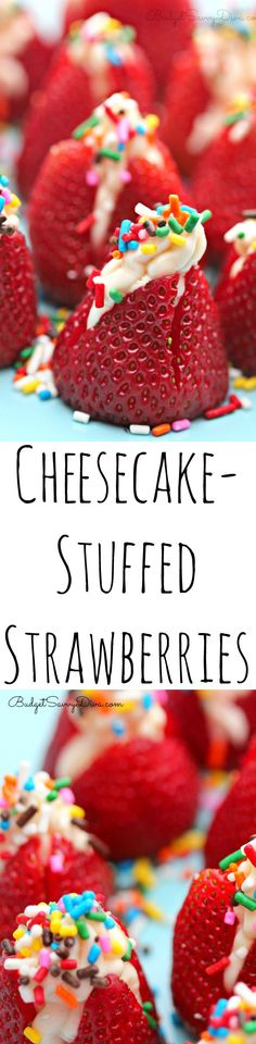 Super Easy Dessert - kids can make this dessert. I've made these and they're delicious!  Gluten - Free. You can not go wrong with this dessert.   Cheesecake-Stuffed Strawberries Recipe