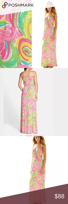 "Lilly Pulitzer ""all nighter"" marlisa maxi dress Lilly Pulitzer ""all nighter"" marlisa maxi dress. New with tags, purchased from Nordstroms  The Marlisa Maxi is a tried and true maxi dress from Lilly. Daytime maxi dresses are necessities for jetsetters - they make for the chicest travel outfits. This elastic waistband dress is easy to layer with a cardigan or a statement necklace. Love. Printed Strapless Maxi Dress With Elastic Waist. Luxe Rayon Spandex Slub Jersey - Printed (95% Rayon, 5%…"
