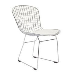 Wire Side Chair in White | Mid Mod