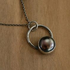 Chocolate Pearl Pendant Sterling Silver Necklace by KiraFerrer, $45.00