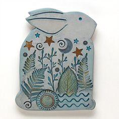 Rabbit, Clay bunny,Ceramic Rabbit,Home Decor, Nature Inspired, hand made, wall art on Etsy, $55.00
