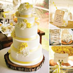 {Rustic & Sweet} Yellow Summer Wedding by Clair Griffiths of Calamity Cakes http://hwtm.me/10BK0HQ