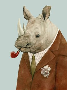 "Mr Rhino  by Animal Crew  Follow  ART PRINT / MINI (8"" X 10"")  $20.00"