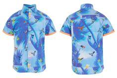 Anne Kurris spring summer 2014, blue cotton short sleeved shirt #animalkingdom #annekurris #childrens #kids #childrenswear #kidswear #kidsfashion #girls #boys
