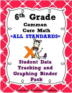 6th Grade Common Core Math Student Data Tracking Binder Pack *ALL STANDARDS* - Miss Nannini - TeachersPayTeachers.com