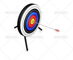 3D render of an arrow hitting the bullseye