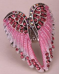 Angel Wings Crystal Stretch Ring - Magical Avenue