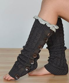 This Graphite Cable-Knit Lace Button Leg Warmers is perfect! #zulilyfinds