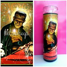Saint Frankenstein Prayer Candle ($13) ❤ liked on Polyvore featuring home, home decor, candles & candleholders, black, candles & holders, home & living, home décor, black candlestick holders, outdoor candle holder and outdoor candles