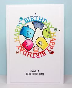 lawn fawn monster mash rainbow birthday card