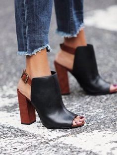 Add a spring to your step with a fun open-toe shootie with a block heel! We love the idea of pairing these with casual jeans and a tee!: