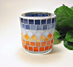 Stained glass mosaic tealight candle holder orange blue sunset