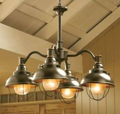 table lighting above rustic dining table